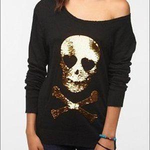 Wildfox Sequins Skull Sweater - Black & Gold - XS